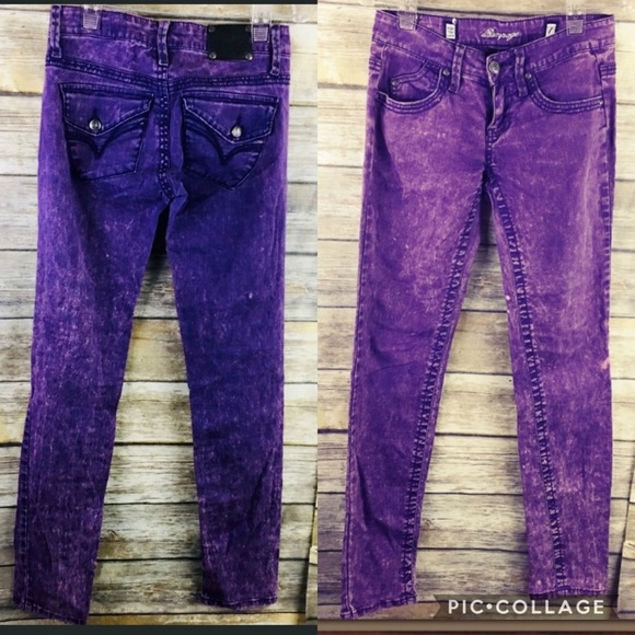 Rampage Purple Acid Wash Skinny Jeans EUC size1